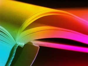 open book with strong colors to indicate good book design