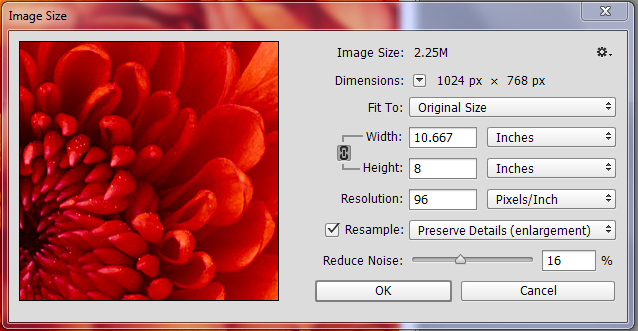 Image resolution for printing
