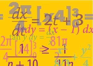 collage of colorful math typesetting