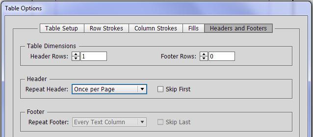 Adding a header row in InDesign.