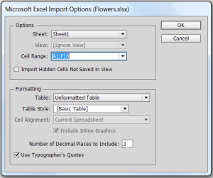 Want to import from Excel into InDesign?