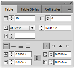 Table panel in InDesign