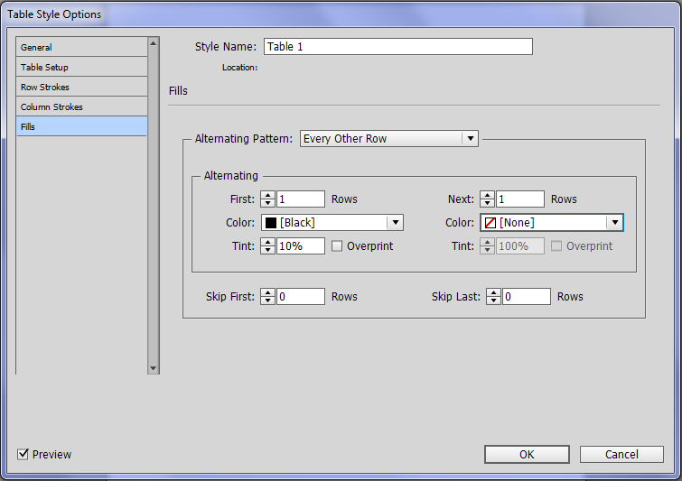 Create a greyscale table in InDesign.
