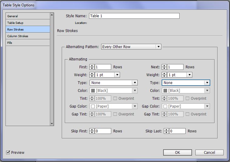 Creating a greyscale table in InDesign.