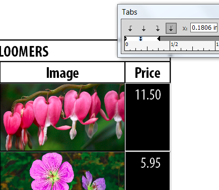 Lining up decimals in an InDesign table