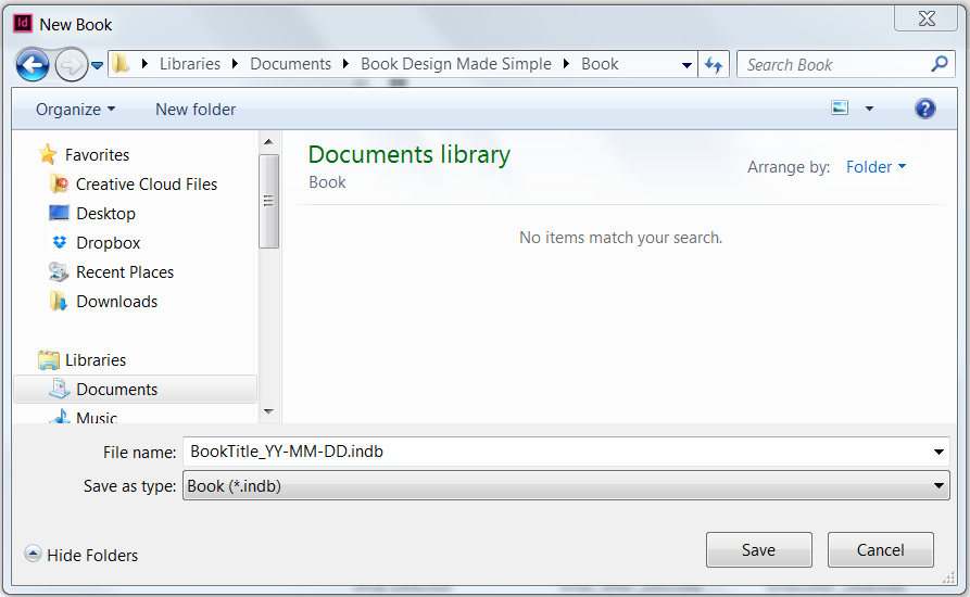 New Book dialog box