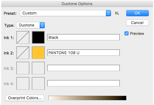 Duotone options in Photoshop for 2-color printing