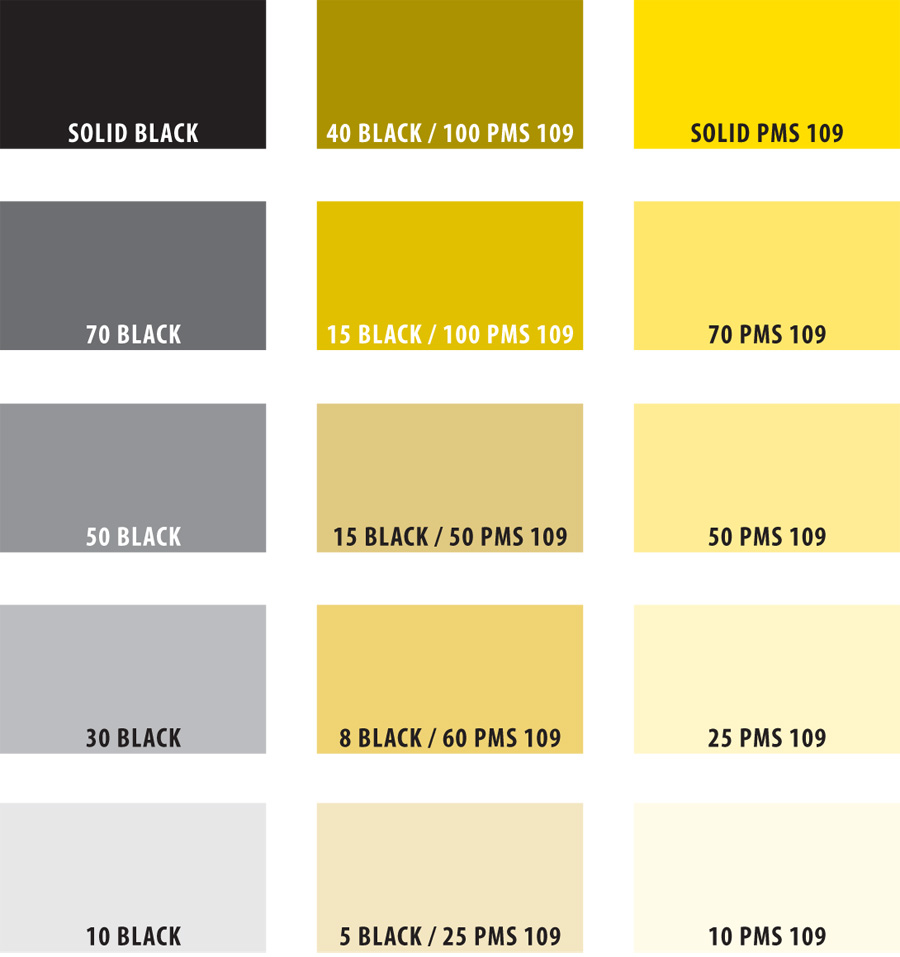 A range of color swatches for 2-color printing