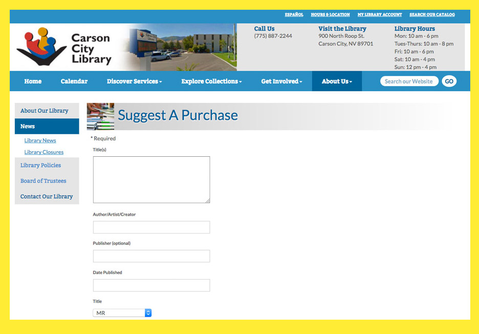 Book marketing to libraries: Carson City Library