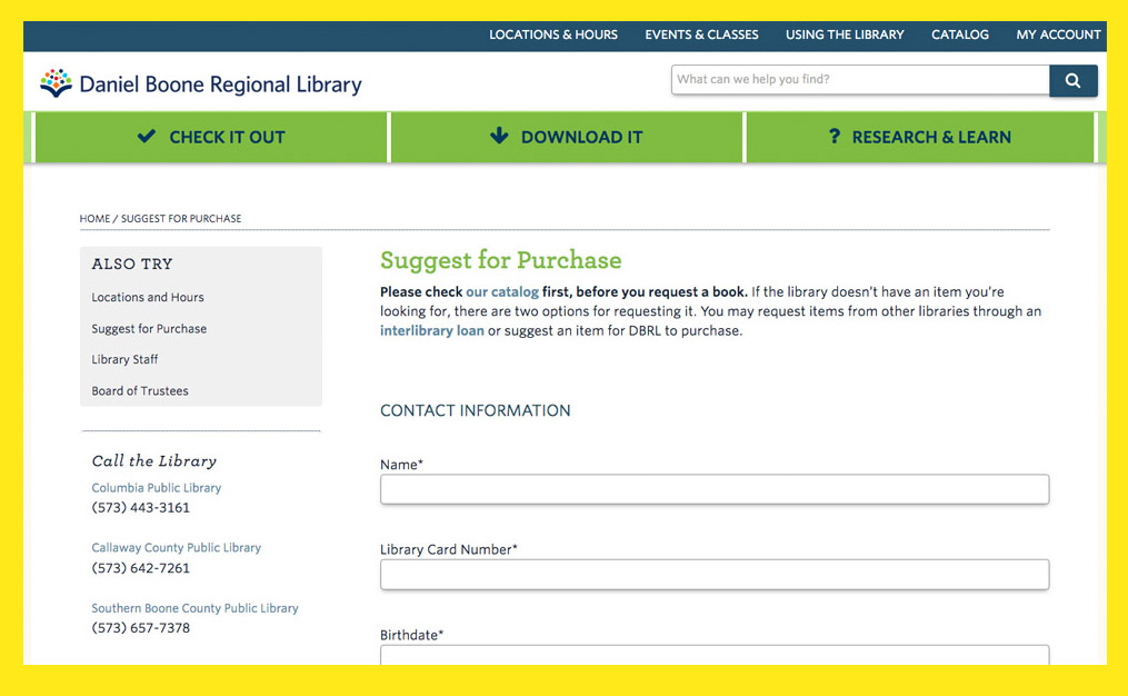 Book marketing to libraries: Daniel Boone Regional Library