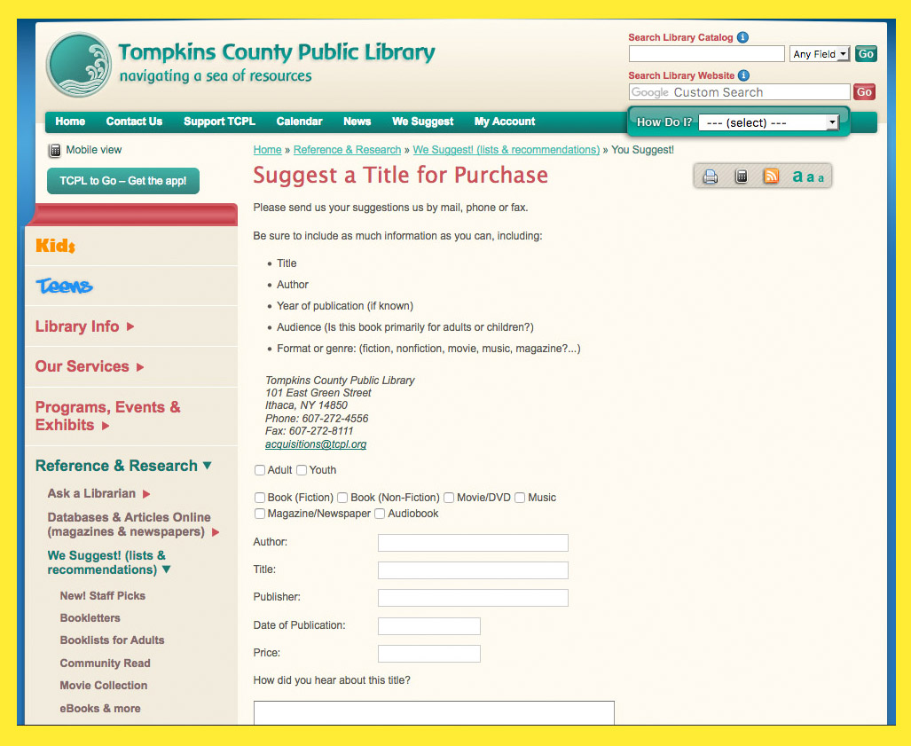 Book marketing to libraries: Tompkins County Public Library