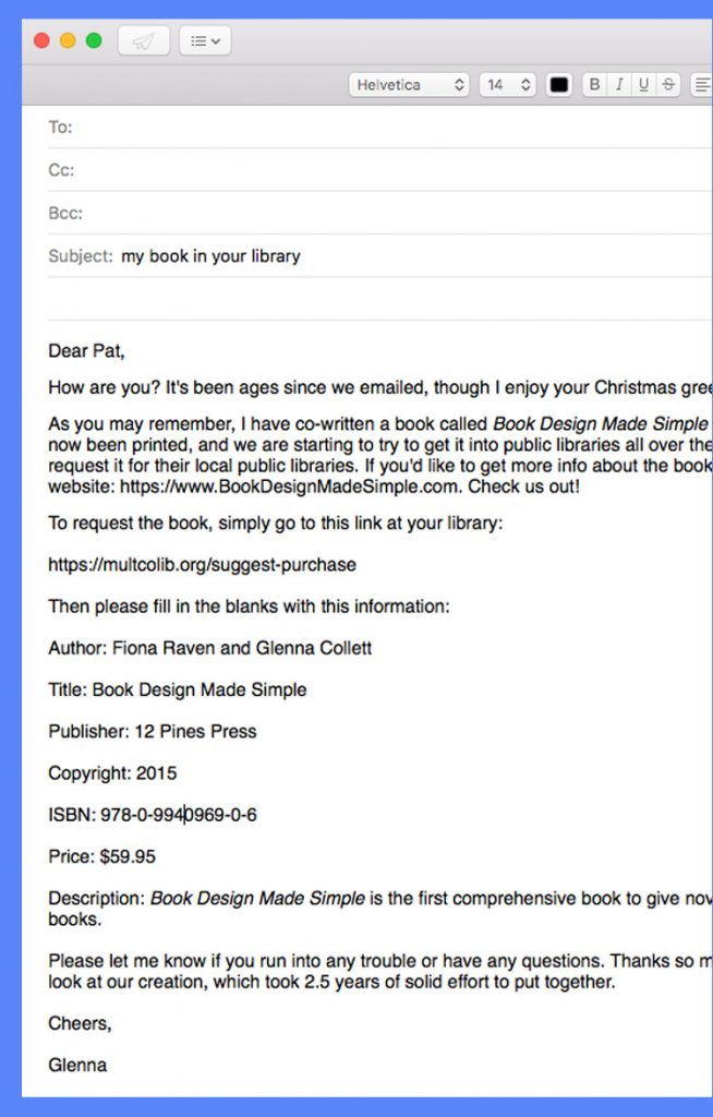 Email to help with book marketing to libraries