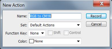 New Action dialog box to convert to CMYK in Photoshop