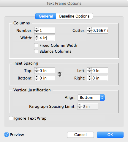 Text Frame Options dialog box for InDesign footnotes