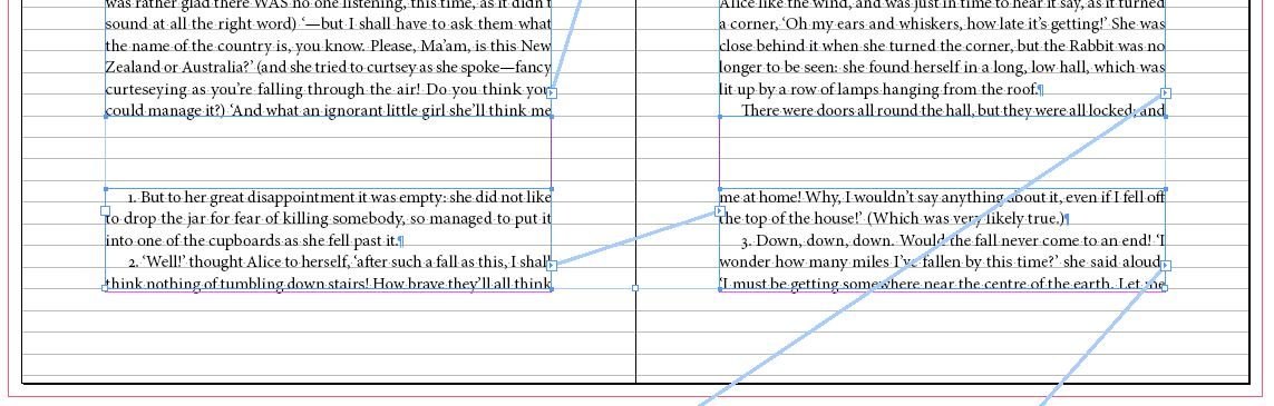Two sets of text frames linked for InDesign footnotes