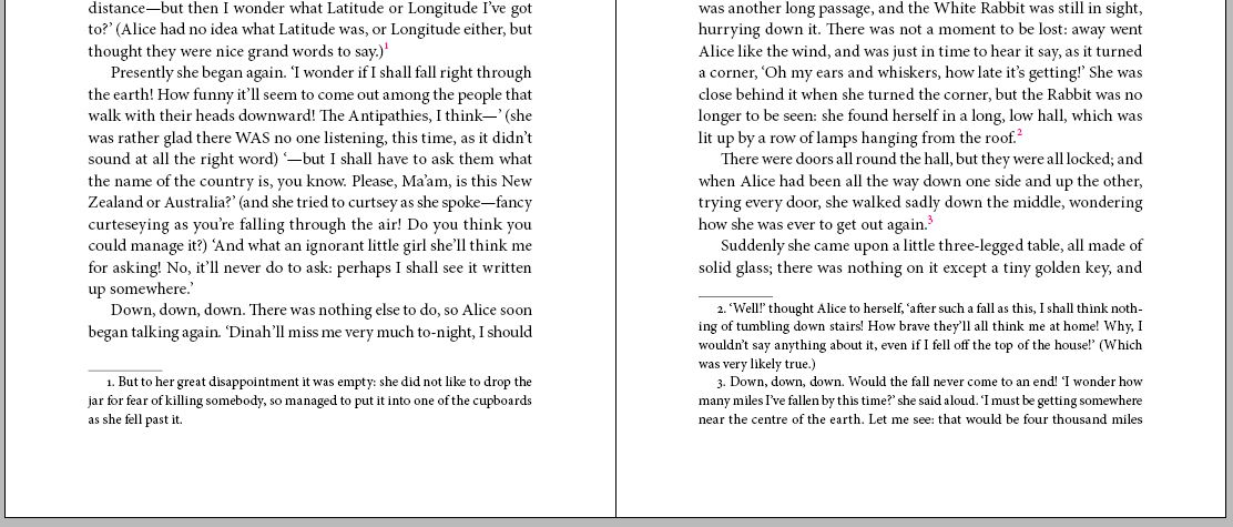 Example of typeset InDesign footnotes