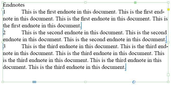 InDesign endnotes text frame