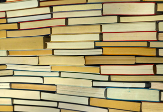 Books tightly stacked for book front matter