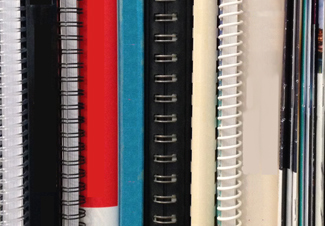 Books shown with various book binding types