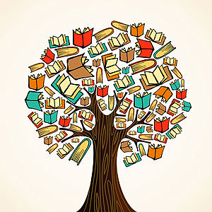 Image of a book tree by a book illustrator.