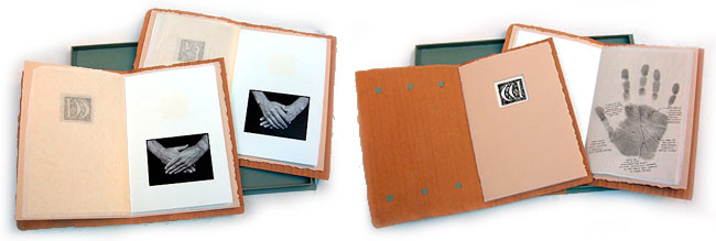 Book arts - samples showing hands
