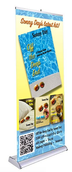 Banner example of book promotional materials.