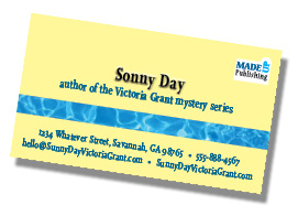 Business card example of book promotional materials.