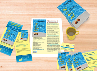 Book promotion materials such as bookmarks and rack cards.