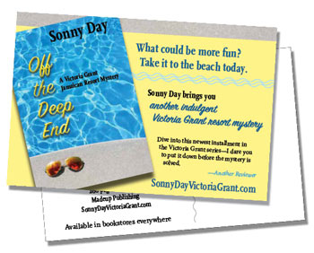 Postcard example of book promotional materials.