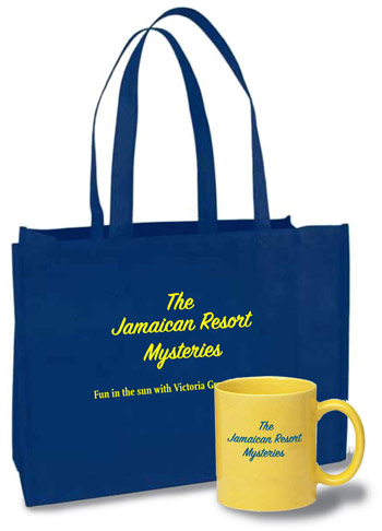 Bags and mugs are examples of book promotional materials.