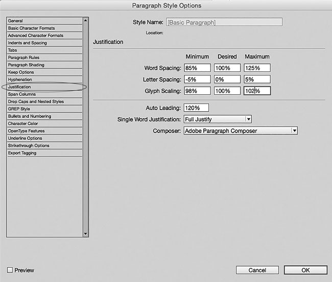 Justification settings in InDesign