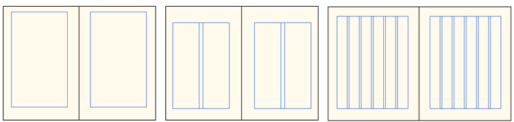 Three double-page spreads showing layout grids