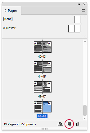 Add new page in InDesign for index
