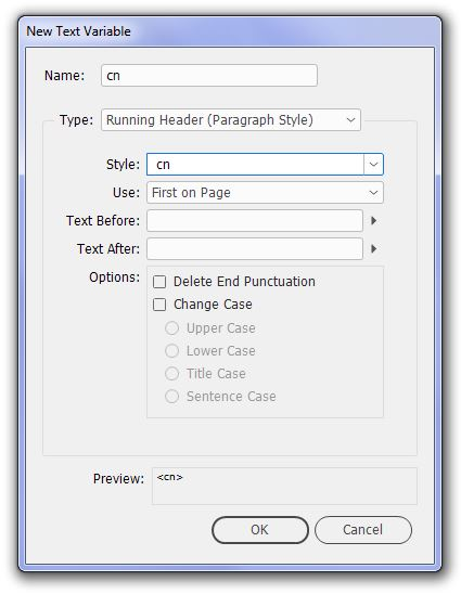 Dialog box showing the choices to be made when defining a new text variable.