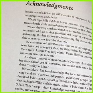 Book front matter example of acknowledgments