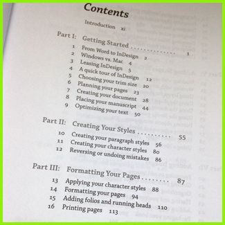 Book front matter example of a table of contents