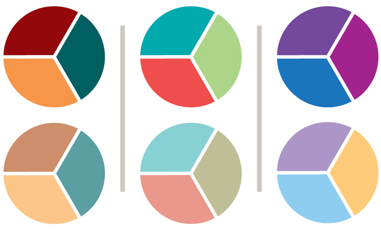 3 possible color palettes for a coffee table book