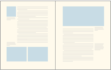a 2-page spread with images and type as an example of varying column widths