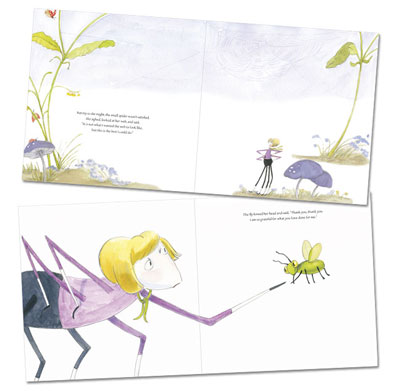 Design a children's picture book using 2-page spreads with a white background.