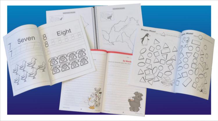 Samples of workbook design pages.