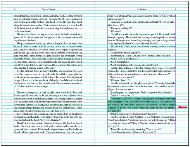 Example showing how using 10 tracking stretched a paragraph to create an extra line.
