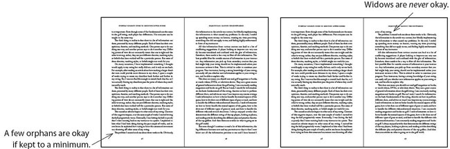 Two 2-page spreads showing widows and orphans, no-no's in book typesetting.