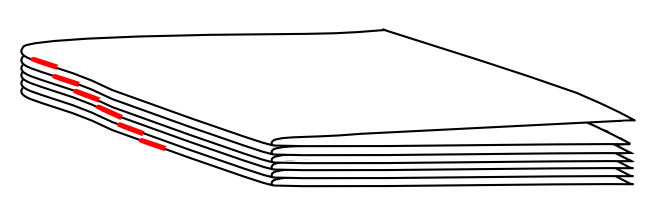 Collating marks that result in a correct order of signatures for book binding.