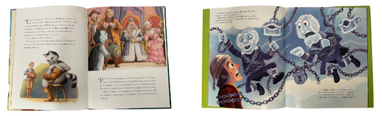 Two children's picture books show the difference in amount of text per page.