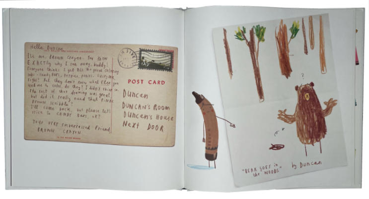 Children's picture book showing a 2-page spread with handwritten text.